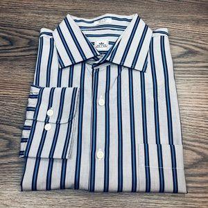 Peter Millar Grey, Blue & Navy Stripe Shirt XL